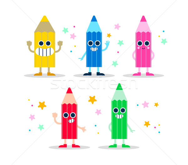 Color pencil fun character set for kids or school Stock photo © cienpies