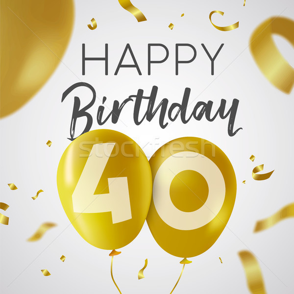 Joyeux anniversaire 40 quarante année or ballon Photo stock © cienpies