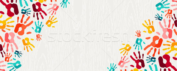 Colorful hand print paint background art  Stock photo © cienpies