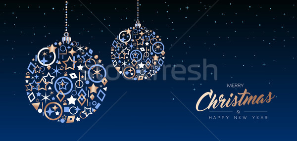 Christmas nowy rok miedź piłka internetowych banner Zdjęcia stock © cienpies