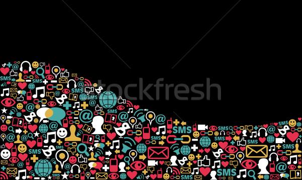 ソーシャルメディア ネットワーク アイコン 風景 波 ストックフォト © cienpies