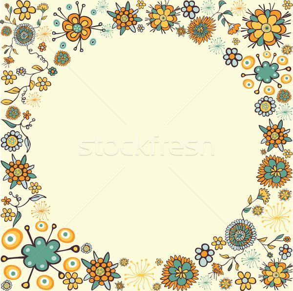 Stock fotó: Tavasz · klasszikus · virág · kör · kártya · szín