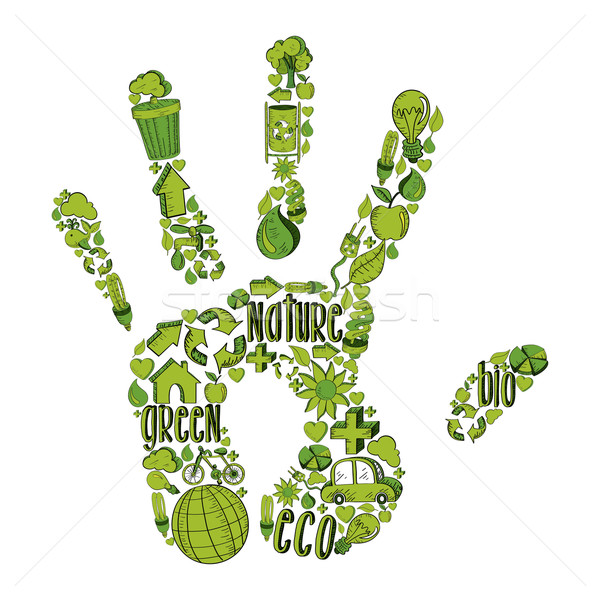 Stock photo: Green hand with environmental icons