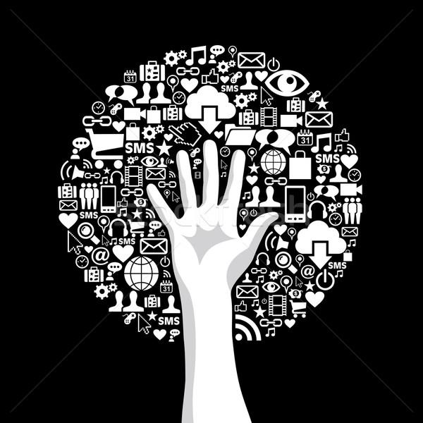 Zdjęcia stock: Social · media · strony · drzewo · Internetu · technologii