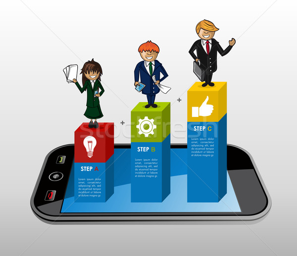 Smart phone app business infographics Stock photo © cienpies