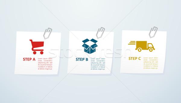 Ekereskedelem lépcső információ grafika háló vásárlás Stock fotó © cienpies