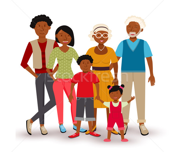 Stock photo: Happy African American family illustration