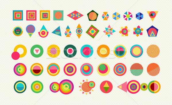 Geometry element set shape colorful icon symbol Stock photo © cienpies