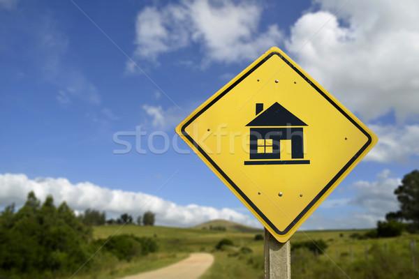Stok fotoğraf: Ev · düşler · ikon · yol · işareti · satın · almak