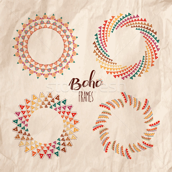 Ethnic boho mandalas over kraft paper texture Stock photo © cienpies