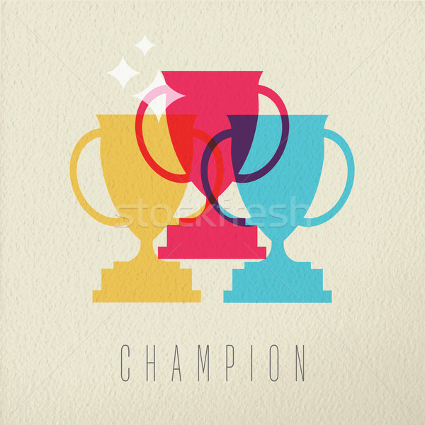 Champion game trophy concept icon color design Stock photo © cienpies