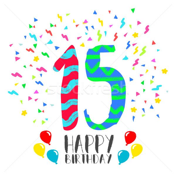 Feliz aniversário 15 ano cartão número Foto stock © cienpies