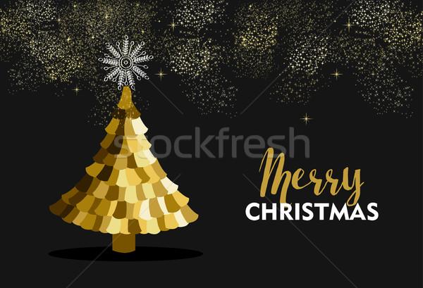 Heiter Weihnachten Gold Kiefer Feuerwerk Himmel Stock foto © cienpies