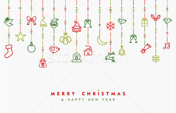 Navidad año nuevo ornamento icono tarjeta Foto stock © cienpies