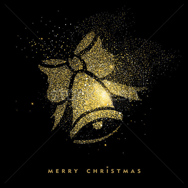 Christmas gold glitter holiday decoration card Stock photo © cienpies