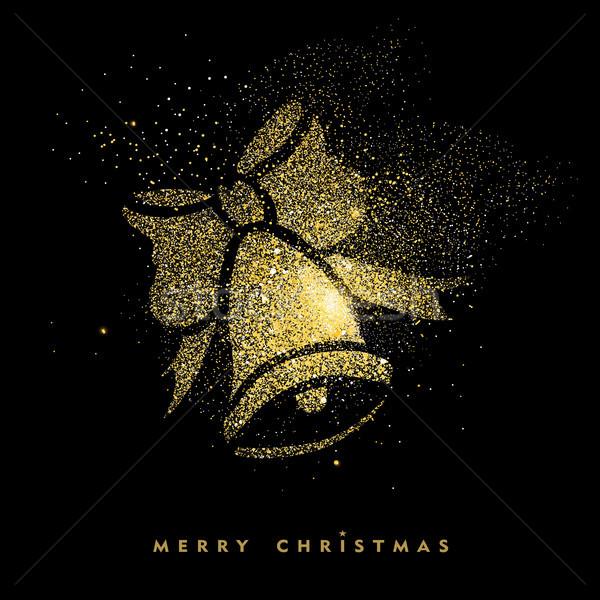 Karácsony arany csillámlás ünnep dekoráció kártya Stock fotó © cienpies