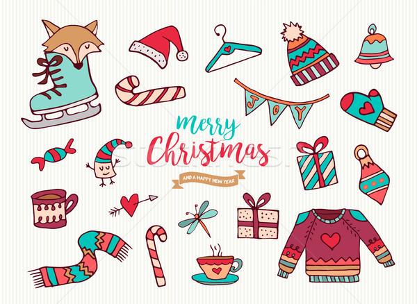 Stok fotoğraf: Noel · yılbaşı · sevimli · tatil · karikatür · toplama