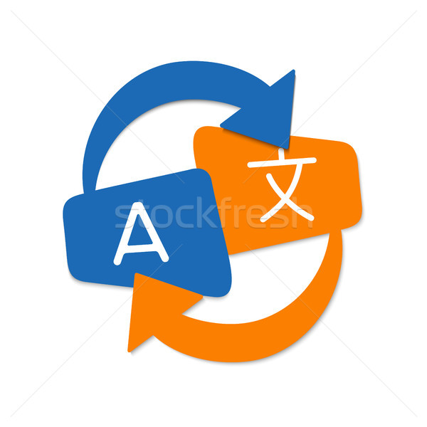 Sprache Übersetzung Symbol Design Kunst Stil Stock foto © cienpies