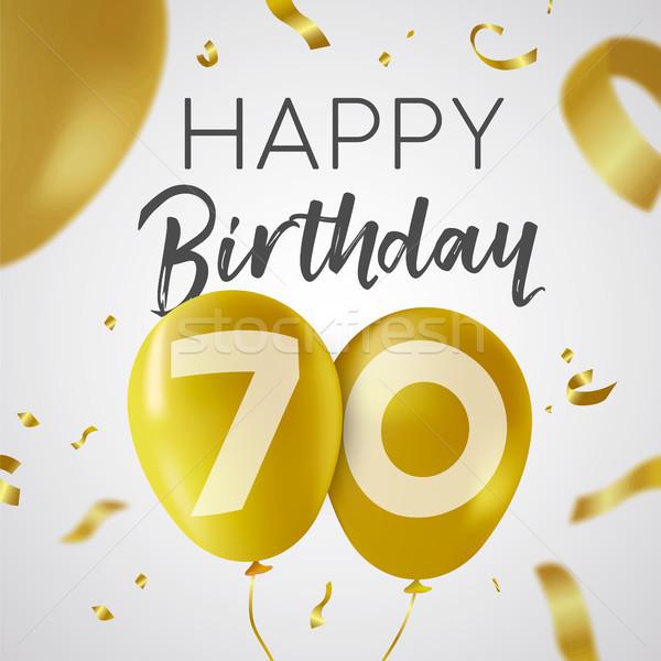 Happy birthday 70 seventy year gold balloon card Stock photo © cienpies