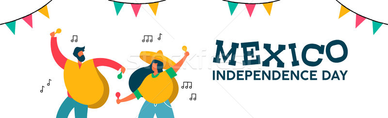 Mexico independence day banner of fun friend party Stock photo © cienpies