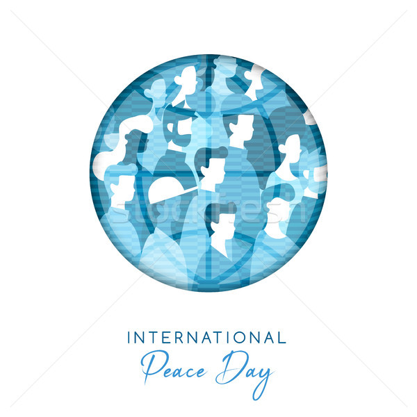 World Peace day card for diverse people unity Stock photo © cienpies