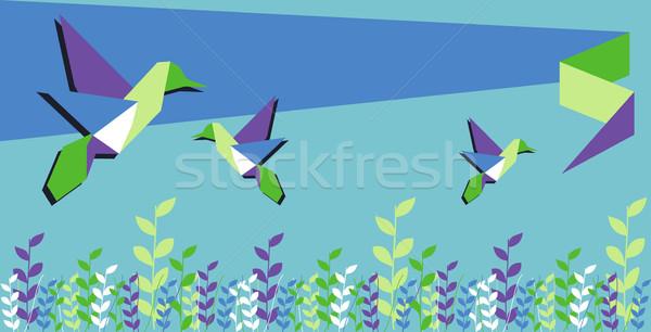 оригами hummingbird весны время группа цветочный Сток-фото © cienpies