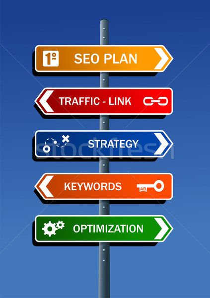 Seo plan pasos carretera post Foto stock © cienpies