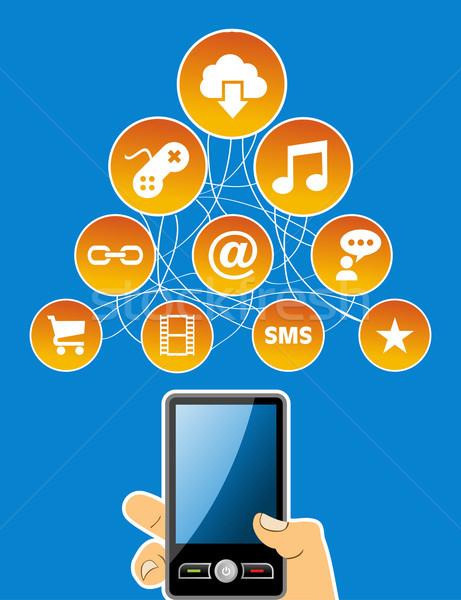Hareketlilik sosyal medya ağ diyagram Stok fotoğraf © cienpies