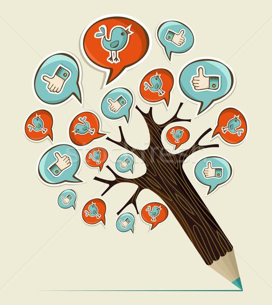 Zdjęcia stock: Social · media · farbują · drzewo · ikona