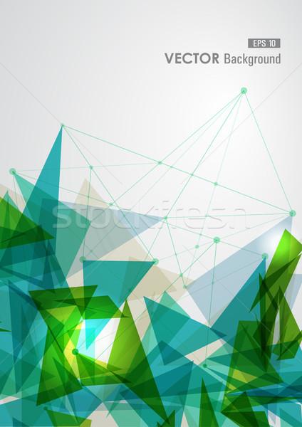 зеленый синий сеть геометрический прозрачность современных Сток-фото © cienpies