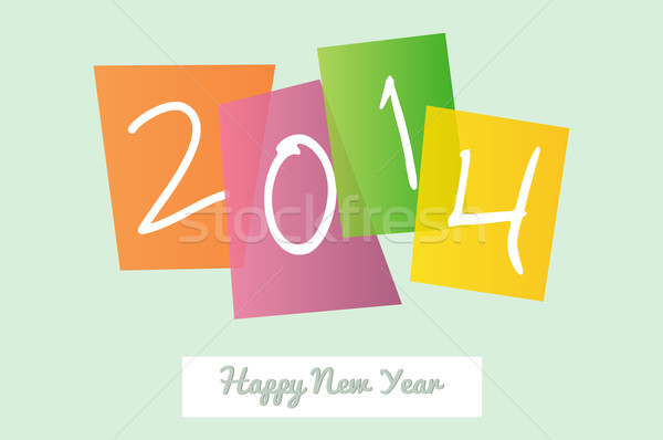 Happy New Year 2014 signs greeting card Stock photo © cienpies