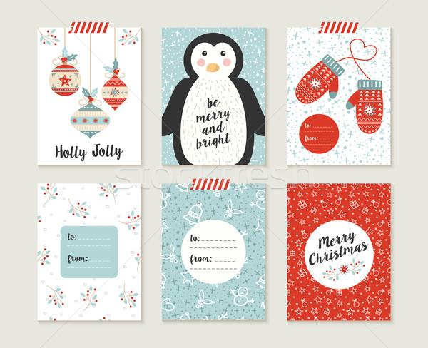 Merry christmas card set pattern retro cute bauble Stock photo © cienpies