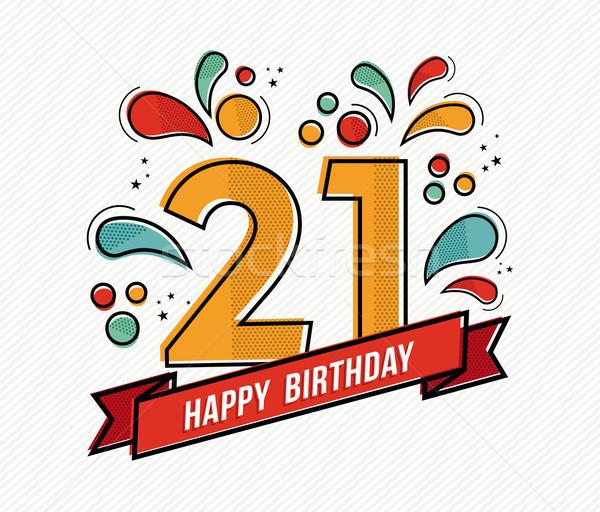 Stockfoto: Kleurrijk · gelukkige · verjaardag · aantal · lijn · ontwerp · wenskaart
