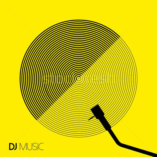Muziek ontwerp geometrie cirkel vinyl lijn Stockfoto © cienpies