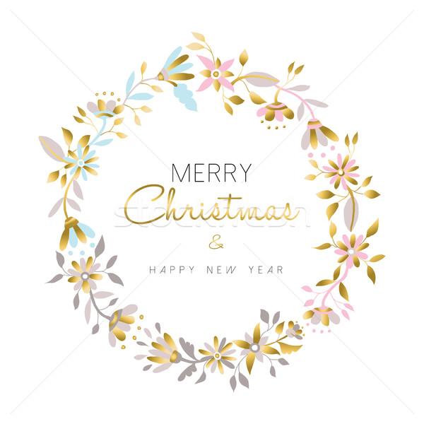 Photo stock: Joyeux · Noël · nouvelle · année · or · fleur · couronne
