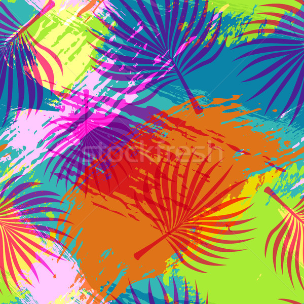 Tropical summer pattern abstract palm leaf art Stock photo © cienpies