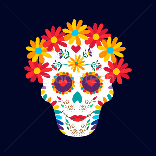 Day of the dead mexico sugar skull decoration art Stock photo © cienpies