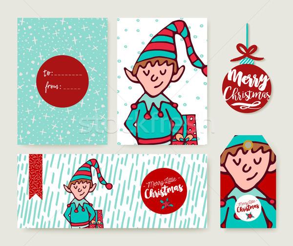 Christmas vakantie kaart sjabloon cartoon elf Stockfoto © cienpies