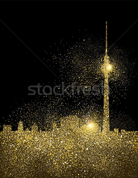 City skyline gold glitter art concept illustration Stock photo © cienpies