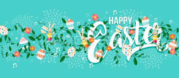 Kellemes húsvétot tavasz tipográfia szöveg háló szalag Stock fotó © cienpies