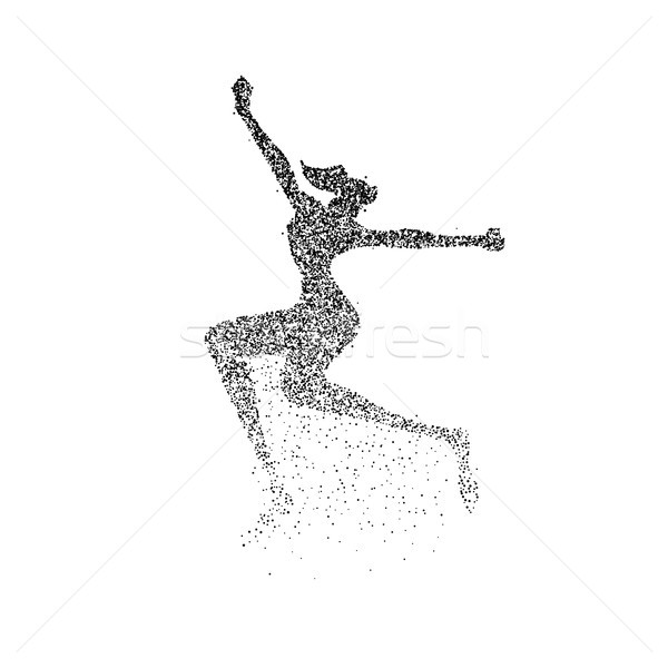 Happy girl jump silhouette particle dust splash Stock photo © cienpies