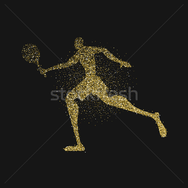 Tennis player silhouette gold glitter splash art Stock photo © cienpies