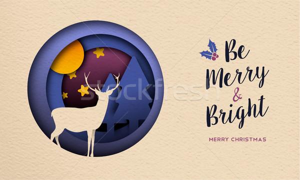 Noel yılbaşı kâğıt kesmek geyik web Stok fotoğraf © cienpies
