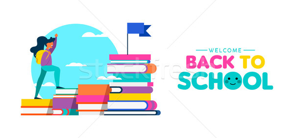 Girl climbing books for back to school web banner Stock photo © cienpies