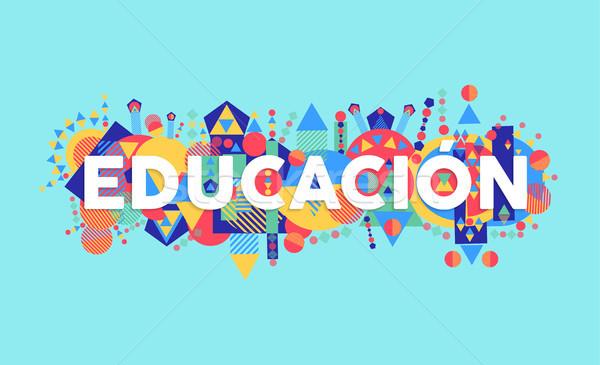 Foto stock: Educação · escolas · citar · espanhol · linguagem · tipografia
