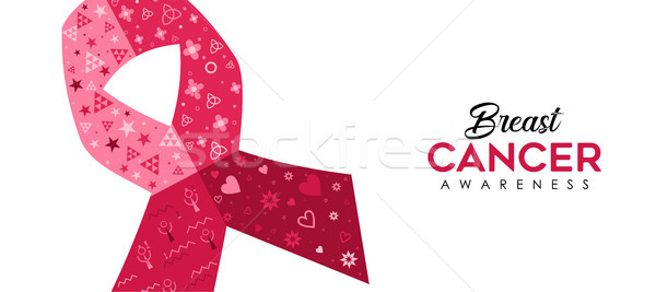 Breast Cancer Awareness pink ribbon web banner Stock photo © cienpies