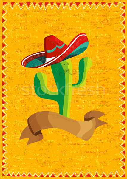 Stock photo: Mexican food cactus over grunge background