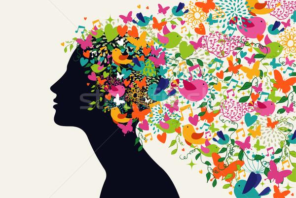 Сток-фото: красивая · женщина · волос · сезон · профиль · цветы