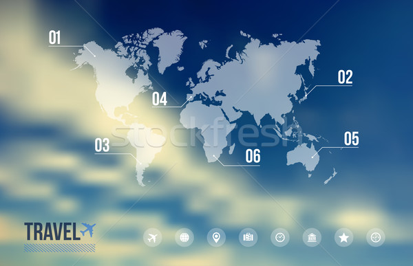 Travel infographic over sky blue blurred background Stock photo © cienpies