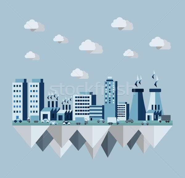 Pollution city flat concept Stock photo © cienpies